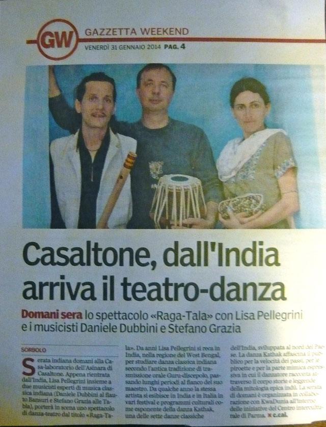 Articolo italiano Lisa Pellegrini Danza Teatro kathak